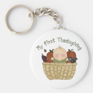 My First Thanksgiving 1 Basic Round Button Keychain