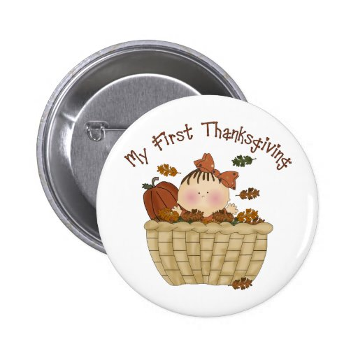 My First Thanksgiving Baby Girl In Basket of Leave Buttons