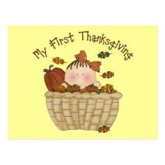 My First Thanksgiving Baby Girl In Basket of Leave Postcards