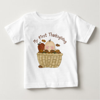 My First Thanksgiving Baby in Basket of Fall Leave Baby T-Shirt