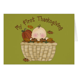 My First Thanksgiving Baby in Basket of Fall Leave Greeting Cards
