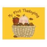 My First Thanksgiving Baby in Basket of Fall Leave Postcards