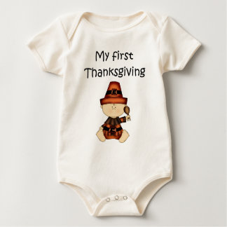 My First Thanksgiving Boy #1 *Organic Creeper* Baby Bodysuit