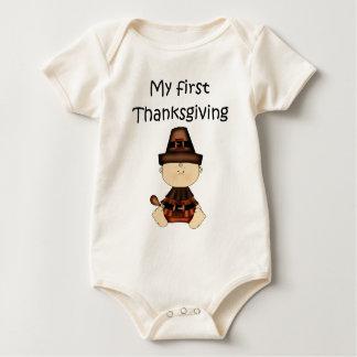 My First Thanksgiving Boy #3 *Organic Creeper* Baby Bodysuit