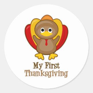 My First Thanksgiving Cute Turkey Classic Round Sticker