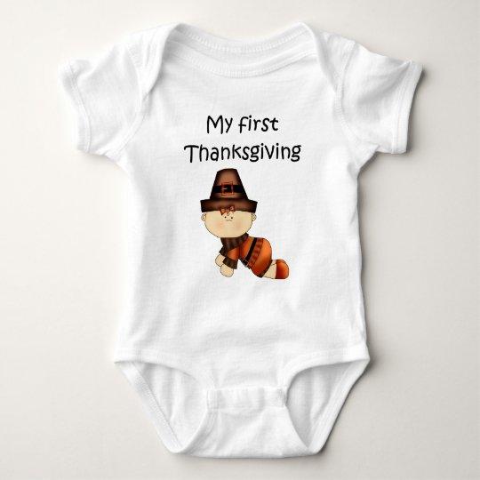 My First Thanksgiving Girl #1 *Creeper* Baby Bodysuit