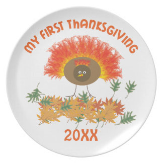 My First Thanksgiving Melamine Plate