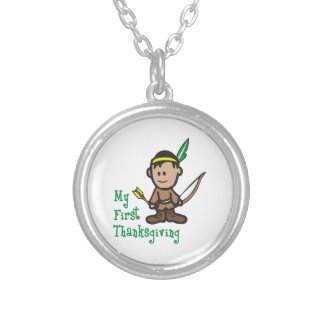 MY FIRST THANKSGIVING ROUND PENDANT NECKLACE