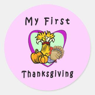 My First Thanksgiving Classic Round Sticker