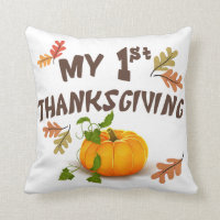 My First Thanksgiving Throw Pillow