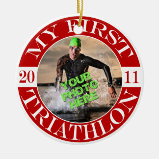 My First Triathlon - 2011 Double-Sided Ceramic Round Christmas Ornament