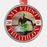 My First Triathlon - Customizable Photo and Year Metal Ornament