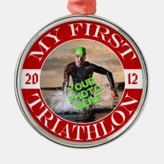 My First Triathlon - Customizable Photo and Year Christmas Tree Ornaments