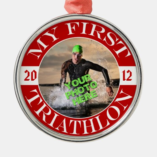 My First Triathlon - Customizable Photo and Year Round Metal Christmas Ornament