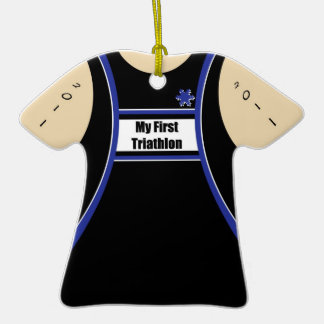My First Triathlon Double-Sided T-Shirt Ceramic Christmas Ornament