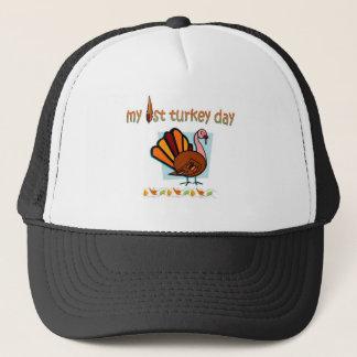 my first turkey day boys trucker hat
