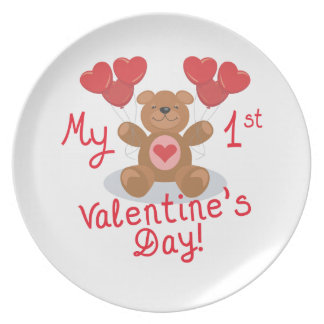 My First Valentines Day Dinner Plate