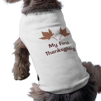My FirstThanksgiving Leaf Puppy Shirt Pet Tee Shirt