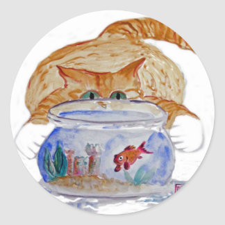 My Fishbowl, Meows Tiger Kitten Classic Round Sticker