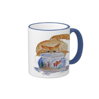 My Fishbowl, Meows Tiger Kitten Ringer Coffee Mug