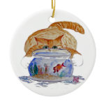 My Fishbowl, Meows Tiger Kitten Double-Sided Ceramic Round Christmas Ornament