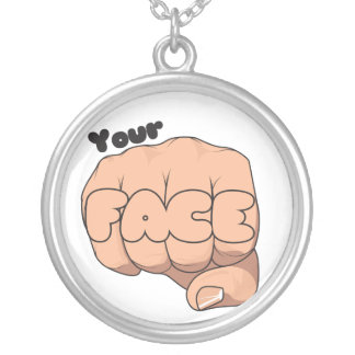 My Fist your Face Round Pendant Necklace