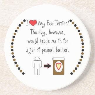 My Fox Terrier Loves Peanut Butter Beverage Coasters