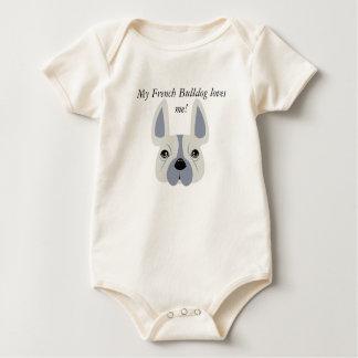 My French Bulldog loves me! Baby Bodysuit