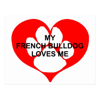 my french bulldog loves me.png postcard