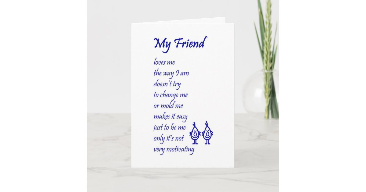 My Friend A Funny Thinking Of You Poem Card Zazzle Com