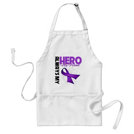 My Friend Always My Hero - Purple Ribbon Adult Apron