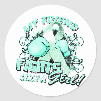 My Friend Fights Like A Girl (T) Classic Round Sticker