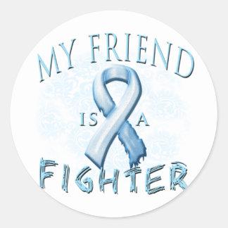 My Friend is a Fighter Light Blue Classic Round Sticker