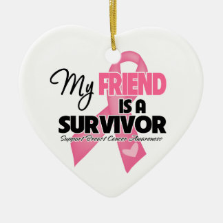 My Friend is a Survivor - Breast Cancer Double-Sided Heart Ceramic Christmas Ornament