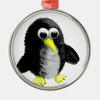 My friend the penguin metal ornament