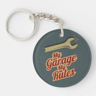 My Garage My Rules Double-Sided Round Acrylic Keychain