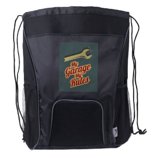 My Garage My Rules Drawstring Backpack