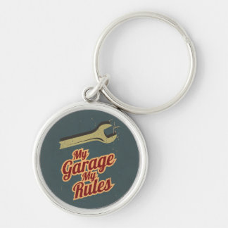 My Garage My Rules Silver-Colored Round Keychain