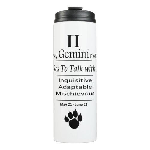 My Gemini Feline Zodiac Thermal Travel Tumbler