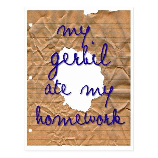 My Gerbil Ate My Homework Postcard