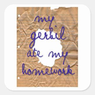 My Gerbil Ate My Homework Square Sticker