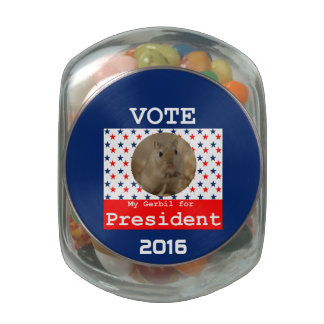 My Gerbil for President Jelly Beans Container Glass Candy Jar