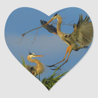 My Gift To You - Great Blue Herons Heart Sticker