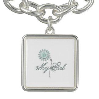 My Girl Teal Flower Charm Bracelet