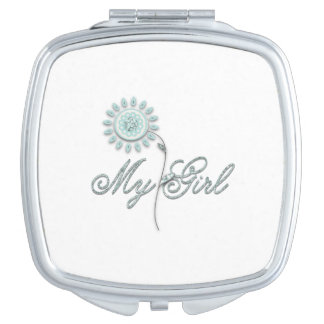 My Girl Teal Flower Compact Mirror