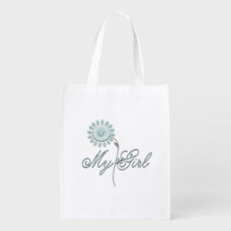 My Girl Teal Flower Reusable Grocery Bag