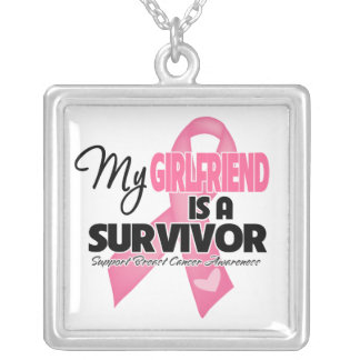 My Girlfriend is a Survivor - Breast Cancer Square Pendant Necklace
