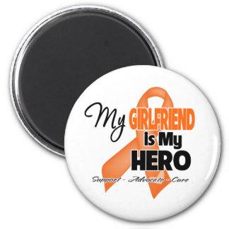 My Girlfriend is My Hero - Leukemia 2 Inch Round Magnet
