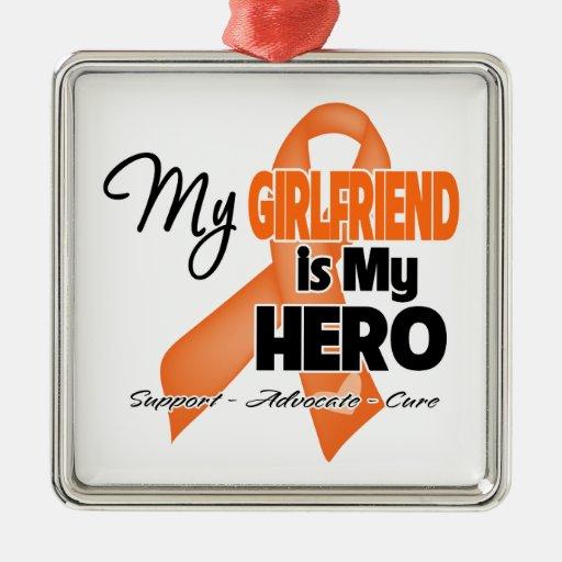 My Girlfriend is My Hero - Leukemia Square Metal Christmas Ornament