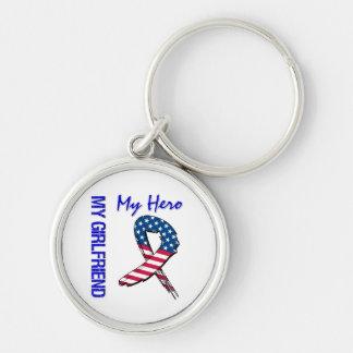 My Girlfriend My Hero Patriotic Grunge Ribbon Keychain